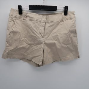 New York & Company Flat Front Cream Bermuda Shorts